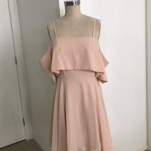 ASOS Millennial Pink Cold Shoulder Skater Dress